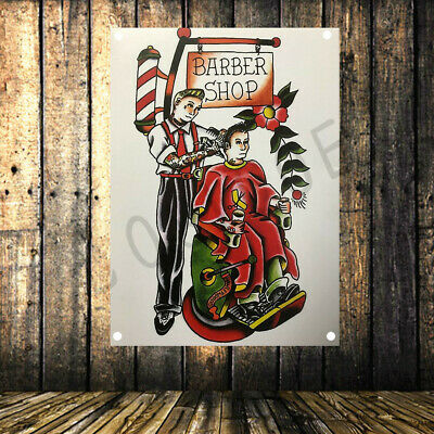 Haircut tattoo posters Barber shop decor flag banner Cloth painting 96X144 CM