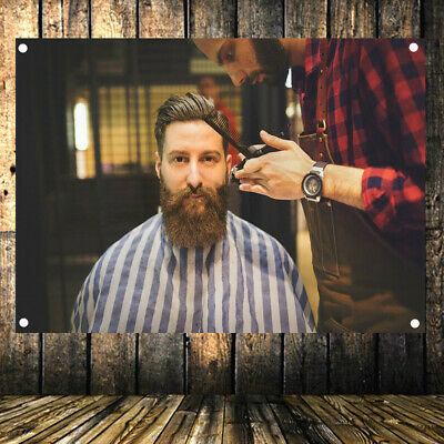 Hairstyle Shave Beard Barber Shop Signboard Poster Flag Banner Home  Decoration