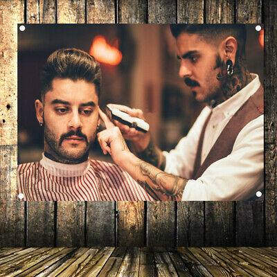 Shave Beard Barber Shop Signboard Retro Decor Poster Flag Banner Canvas Painting