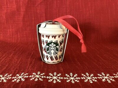 STARBUCKS 2019 Merry Coffee Tea Cup Ornament Christmas Winter Holiday Red Green