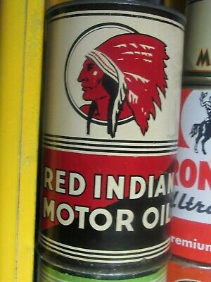 Rare Vintage Original Mc Coll Frontenac Red Indian Motor Oil Can Never Open FULL