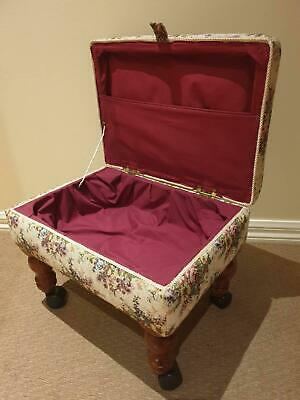 Antique Sewing Stool, Foot Stool, Tapestry Embroidery