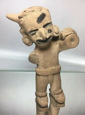 Horned Vera Cruz Pre-Columbian Painted Face Deity Effigy Terra-Cotta Pottery