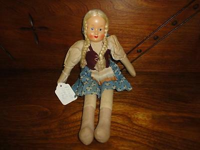 Antique Poland Polish Doll 1920's 1930's Painted Composition Face 11.5 inch