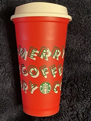 Starbucks 2019 Reusable Red Holiday Cup w/ Lid << MERRY COFFEE >> Grande 16 oz