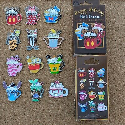 Happy Holiday Cocoa Mug Complete 12 Pin Set 2019 Disney Parks Mystery OE