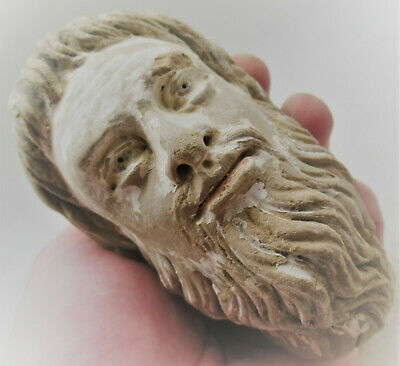 Circa 200-300Ad Ancient Gandhara Stucco Statue Fragment Bearded Male Head