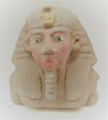 Beautiful Old Antique Egyptian Stone Glazed Mummy Mask Pharoah Bust