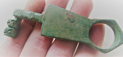 Circa 200-300Ad Ancient Roman Bronze Casket Key Ring Authentic Artefact