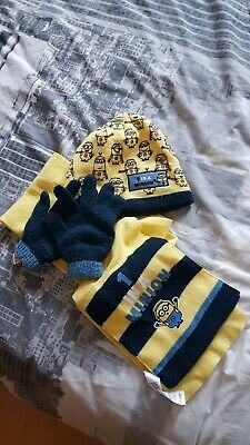 Minion Hat, Scarf, Gloves Set Age 4-8 Years