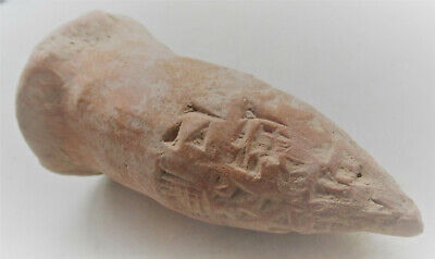 Circa 3000Bc Ancient Near Eastern Conical Clay Tablet With Early Form Of Writing