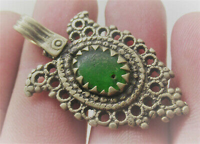 Beautiful Late Medieval Islamic Silvered Pendant With Green Stone Insert