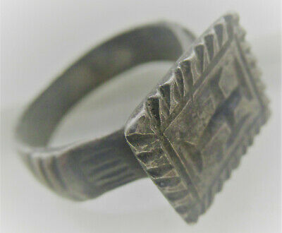Scarce Ancient Byzantine Crusaders Silver Seal Ring With Cross Motif