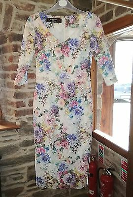 Mother of bride groom blue pink size small 8 dress outfit jacket john Charles