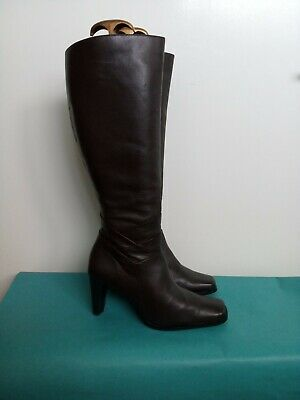 George Dark Brown Genuine Leather Knee High Riding Boots Uk 5 38 Sexy Vgc Comfy