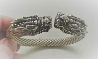 Rare Ancient Viking Style Silver Bracelet With Mythic Serpent Head Terminals