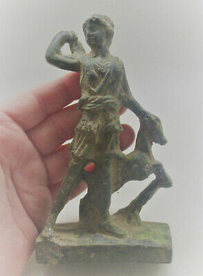 Circa 200-300Ad Ancient Roman Bronze Statuette Of Diana And Beast Scarce