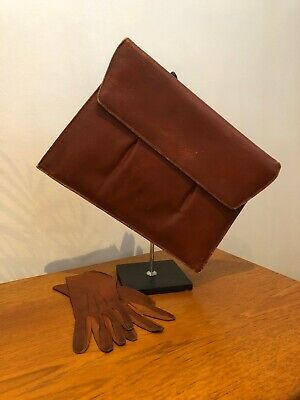 Vintage 1920s 1930s Leather Art Deco Clutch Bag & Dents Gloves