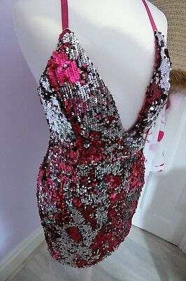 Pretty little thing Size 6 Pink Sequin Mini Dress PLT Party Christmas
