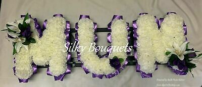 Mum Artificial Silk Funeral Flower Name Any 3 Letter Tribute Word Faux Flowers