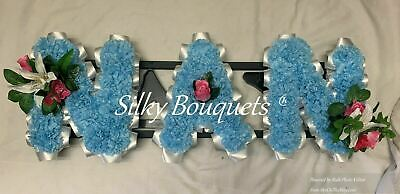 Nan Artificial Silk Funeral Tribute Flower Name Any 3 Letter Word Memorial Faux