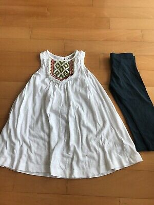 Girls Next White Dress With Leggings Age 5 Excellent Condition