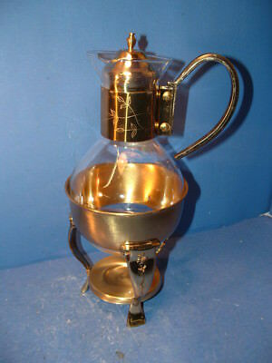 Vintage Brass And Glass Coffee /Tea Carafe With Warmer