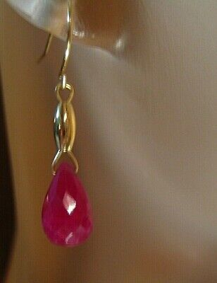 Solid 14Kt Yellow Gold Faceted Natural Ruby Dangle Earrings,1.9 Grams 7.50 ctw