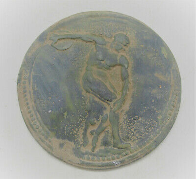 European Finds Ancient Roman Bronze Mount Depicting Discus Thrower Rare