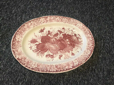 Antique Large Ceramic Dinner Platter With Red Hand Painted Fruits