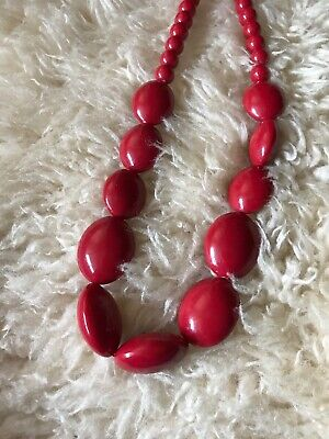 Red Oval & Small Round Bead Long Statement Necklace Lagenlook Rockerbilly Retro