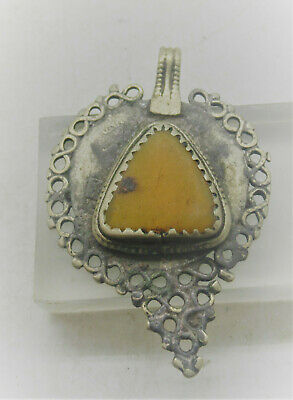 Beautiful Late Medieval Islamic Silvered Pendant With Yellow Stone Insert