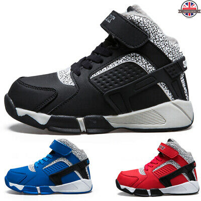 Kids Boys Sports Sneakers Casual Walking Trainers Lace Up Fur Lined Winter Boots