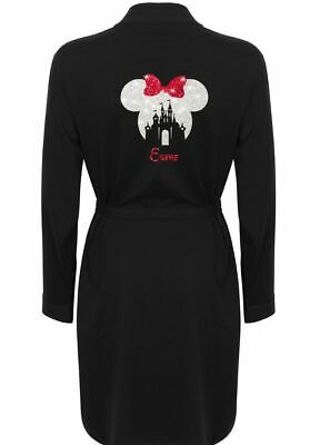 Personalised Disney Mickey Minnie Mouse Glitter Dressing Gown Robe Ladies Adults
