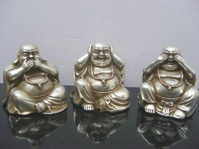 2.36 inch/ Chinese tibet silver carved three buddha figurines Statue