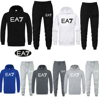 EA7 Mens Fleece Tracksuits Suit Hoodie Pullover Bottoms Sweatshirt Sweatpants