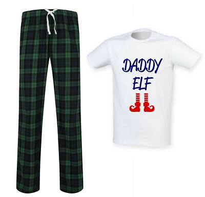 Mens Daddy Elf Tartan Trouser Pyjama Set Family Matching Twinning Family