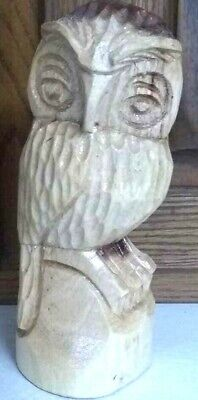 """Owl Statue Hand-Carved Wooden 7.5"""" Tall Boho Rustic Handmade"""