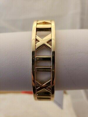Metal Cuff Gold Bracelet With Roman Numerals
