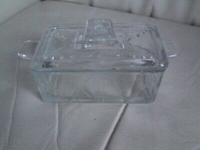 Vintage-Style Glass Butter Dish With Lid,MADE IN ENGLAND.