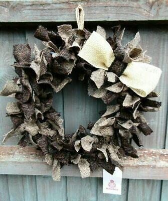 "Stunning 14"" Two Tone Brown Herringbone HARRIS TWEED Wreath Handmade"