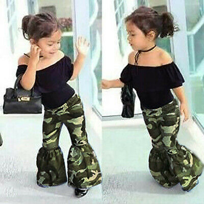 UK Toddler Baby Kids Girls Tops + Camouflage Pants Outfits Set Clothes Tracksuit