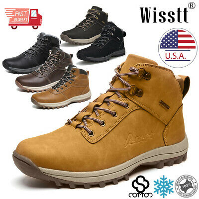 Mens Winter Snow Boots Waterproof Warm Fur Lined Hiking Walking Ankle Shoes Size