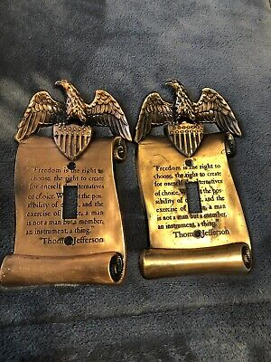 Lot 2 Vintage Brass Switch Plate Eagle & Flag Thomas Jefferson!!!!!!!!