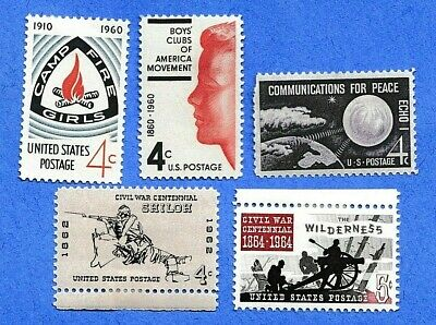 Lot 11815: Scott Nos. 1163, 1167, 1173, 1179, 1181; MLH; Issued in 1960