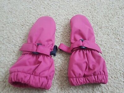 JoJo Maman Bebe Baby Girl Pink Waterproof Fleece Lined Mittens 0-12 Months