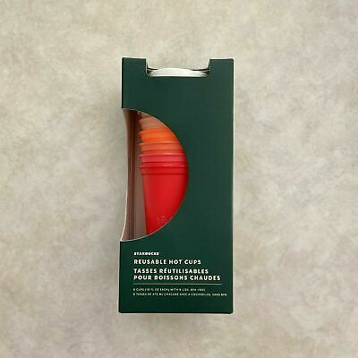 NEW Starbucks 2019 Winter Holiday Christmas Reusable HOT Cups 6 Pack Lids