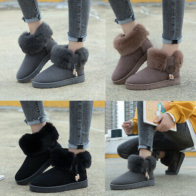 Slippers Womens Warm Boots Ladies Fur Lined Faux Suede Mule Ankle Casual Booties