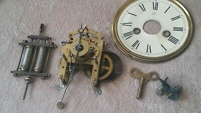 Junghans alarm Clock  Movement, Pendulum Clock dial and Key. Working.