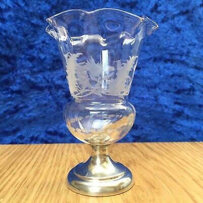 Rare Antique Thistle Etched Glass & J & R Griffin, Sterling Silver Base c.1909